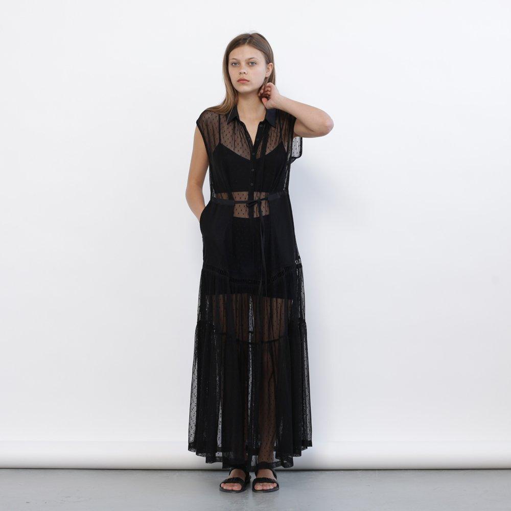 Christmas sale: Evening Dotted Mesh Maxi Dress, Black