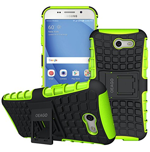 OEAGO Galaxy J3 Emerge / J3 Prime / J3 Eclipse / J3 2017 / J3 Luna Pro / J3 Mission/Sol 2 / Amp Prime 2 / Express Prime 2 Case, Tough Rugged Dual Layer Case with Kickstand (Green) (Galaxy Samsung Green Lime S3 Case)