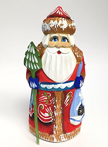 Russian Santa Figurine - Wooden Hand Carved Painted Russian Santa Claus Figurine 5 Inch