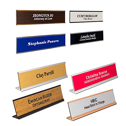 Personalized Office Engraved Name Plate with Wall or Desk Holder ()