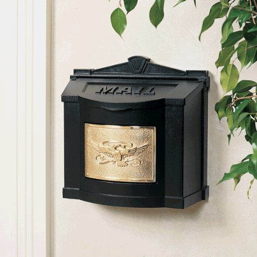 Gaines Wm WallMount Mailbox, Eagle Design Wm3, Black/Polished Brass