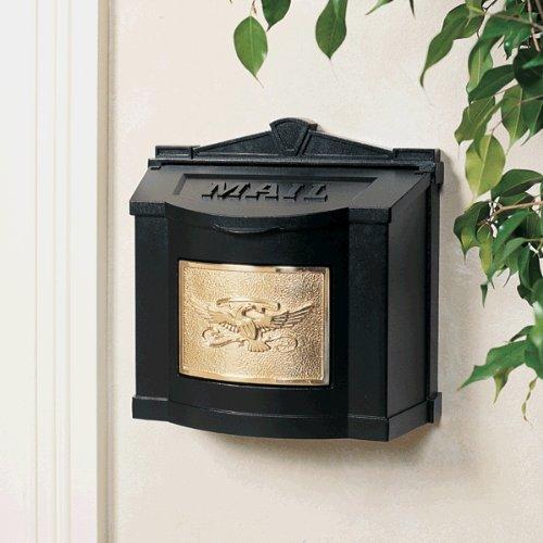 Gaines Wm WallMount Mailbox, Eagle Design Wm3, Black/Polished Brass Eagle Wall Mount Mailbox