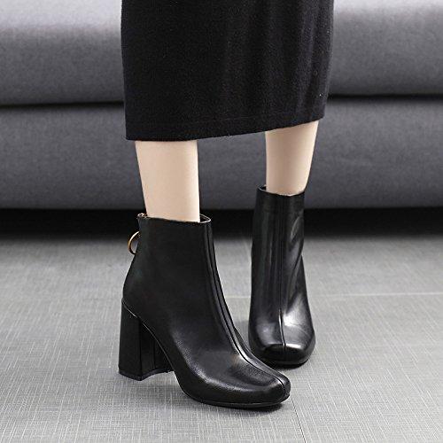 KPHY-Der Parteichef Winter Winter Winter Metall Dekorative Schuhe Kreis Zipper Dick mit high-Heeled Stiefel Stiefel Stiefel und nackten Frauen 0d9184