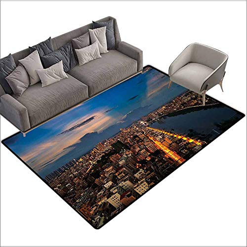 "Front Mat Home Decorative Carpet Colorful Urban,City at Night Bridge Buildings Coast Skyline Twilight Metropolis SunBlue Yellow Light Brown 80""x 96"",Bath Rugs for Bathroom Non Slip"