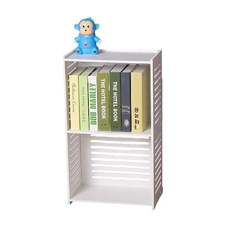 Amazon com: Bookcase White Wood, Wood Plastic Board 2-Tier
