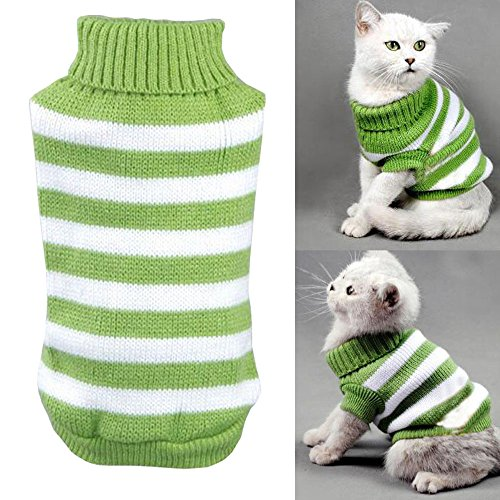 Bolbove Pet Stripes Turtleneck Sweater for Small Dogs & Cats Knitwear Cold Weather Outfit (Green, (Big Dog Fleece)