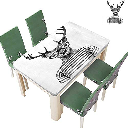 Printsonne Polyester Tablecloth Dressed Up Deer Reindeer Headed Human Hipster Style with Glasses Striped Shirt Easy Care Spillproof 54 x 102 Inch (Elastic Edge) ()