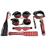 Bondage Kit 7Pcs Restraint Upscale PU Leather Exprienced Extreme Pleasure Sex Life With Lover Couple by Being Fetish Red