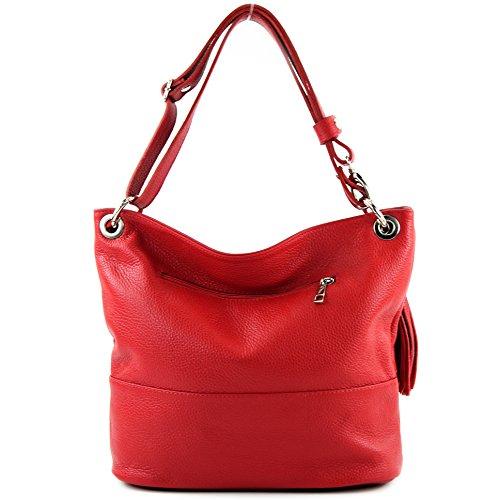 modamoda sac dames Rouge d'épaule en cuir de sac épaule sac ital en T143 cuir ffqrUx