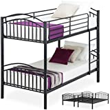 LAGRIMA Twin Over Twin Bunk Beds-Convertible Metal Bunk Bed Frame with Movable Ladder, Metal Slats for Kids/Adult Children,Black