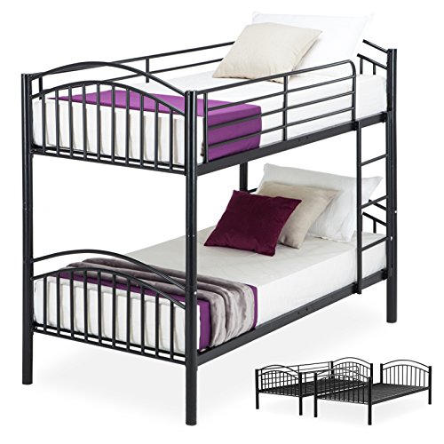 LAGRIMA Bunk Beds-Twin Over Twin Convertible Metal Bunk Bed Frame with Movable Ladder, Metal Slats,Black