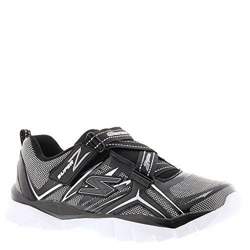 Skechers Boys Electronz Z Strap Sneaker,Black/Silver,US 4 M