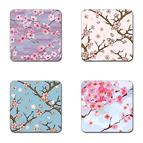 (Beautiful Cherry blossom flowers coasters- 4 inch diameter-Square - neoprene coasters- Eco-Friendly, Made From 100% Recycled Rubber(Set of 4 ))