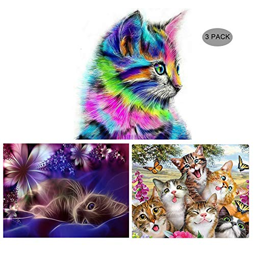 Colorful Cat (5D Diamond Painting Kit Full Drill,EVERMARKET DIY Rhinestone Embroidery Cross Stitch Arts Craft Wall Decor Gift, 11.8''X15.7'' (3 Pack-Adorable Cat,Moon Cat,Colorful Cat))