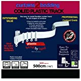"""Curtains2bedding - 196"""" (500cm) Plastic Curtain Track - Strong, Bendable Curtain Track - Bay & Straight Windows, Wall & Ceiling Mounted, Curtains & Shower Curtains, Easily Cut Down, Parts for 3 Tracks. 