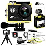 #3: GJT GP1R 4K Sports Action Camera ,12MP Ultra HD WiFi Camera 30M Waterproof DV Camcorder 2 Inch LCD Screen, 170 Degree Wide Angle Lens,with Remote Control, 2x1350mAh Batteries