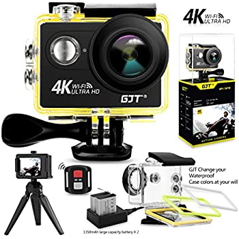 GJT GP1R 4K Sports Action Camera ,12MP Ultra HD WiFi Camera 30M Waterproof DV Camcorder 2 Inch LCD Screen, 170 Degree Wide Angle Lens,with Remote Control, 2x1350mAh Batteries