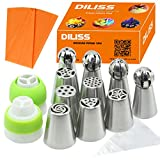 DILISS Cake Decorating Nozzle Set - 6 Stainless Steel Russian Piping Tips & 4 Sphere Balls, 2 Couplers, and 10 Disposable Pastry Bags & 1 Reusable Silicone Pastry Bag, Pastry Cake DIY Baking Tool
