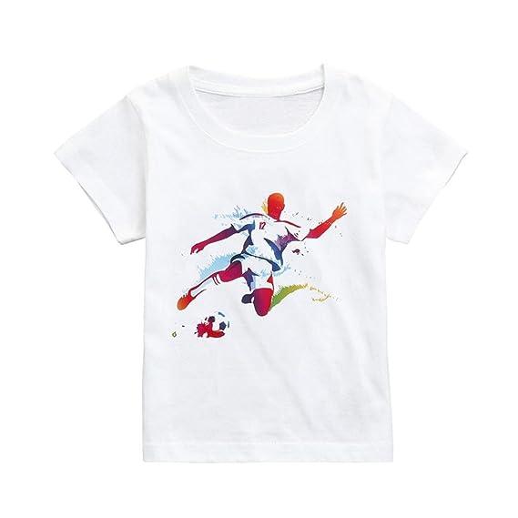 QUICKLYLY Ropa Bebe Camisetas de Manga Cort para Bebé Niña Niño Impresión de Fútbol Tops Blusas