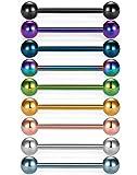 Vcmart 9pcs 14G 11/16 inch tongue nipple rings straight barbells body piercing jewelry