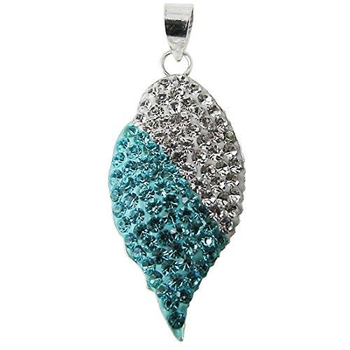 Multi Light Blue Crystal Stone 925 Sterling Silver Serrate Leaf Pendant Jewelry