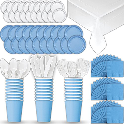 Paper Tableware Set for 24 - Light Blue & White - Dinner and Dessert Plates, Cups, Napkins, Cutlery (Spoons, Forks, Knives), and Tablecloths - Full Two-Tone Party Supplies Pack