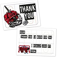 Hockey Kids Birthday Party Fill in The Blank Thank You Cards Ice Hockey Player - Easy Thank You Notes for Boys Goalie 20 Count with Envelopes
