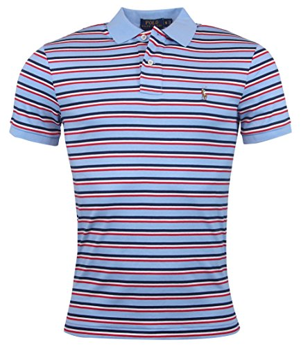Polo Ralph Lauren Men's Regular-Fit Striped Soft Touch Pima Polo, Austin Blue Multi, Small (Ralph Striped Shirt Lauren Rugby)