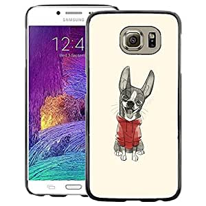 A-type Arte & diseño plástico duro Fundas Cover Cubre Hard Case Cover para Samsung Galaxy S6 (Cute Puppy Sweater Sketch Drawing)