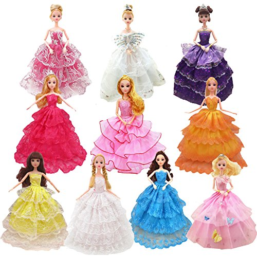 TakenAll 8 Pcs Barbie Handmade Fashion Wedding Party Gown Dresses & Clothes for Barbie Doll Dress Girl's Birthday Gifts Toy by Taken All