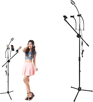 HULYZLB Fill Light Mobile Phone LED Ring Light Tripod Stand with 3 Cell Phone Holder /& Microphone Holder and Sound Card Shelf for YouTube Video