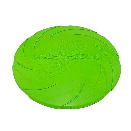 Rodite Disco Volador para Perro de Goma Perros Adiestramiento de Perros Juguetes no t/óxico Interactivo los Juguetes del Animal dom/éstico Disco Perro Verde S-15cm