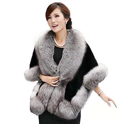 (Caracilia Women's Faux Fur Coat Wedding Cape Shawl For Evening Party ,Gray-black,One Size)