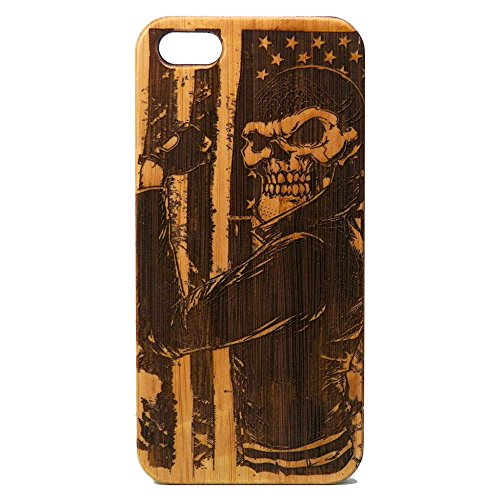 Biker Skull iPhone 6 Plus or iPhone 6S Plus Case/Cover by iMakeTheCase | USA American Flag Motorcycle Chopper Hog Skeleton Gang | Eco-Friendly Bamboo Wood Cell Phone Cover. (Skeleton Choppers)