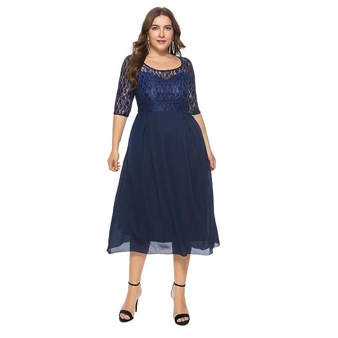 Chiffon Dress, Women Solid Oversize Vintage Floral Plus Size ...