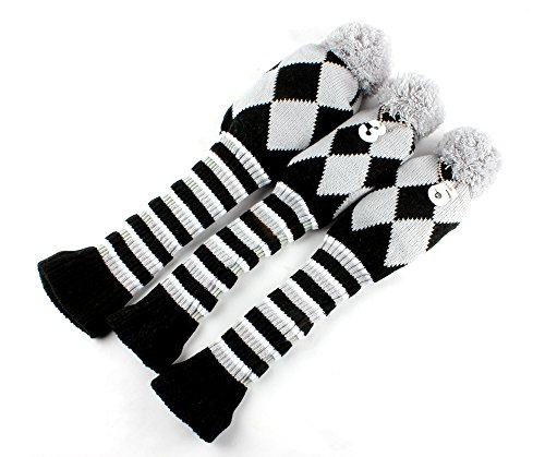 Craftsman Golf Knit 3pcs Headcover Set Vintange Pom Pom Sock Covers 1-3-5 Gray & Black - Sock 3 Pack Headcovers