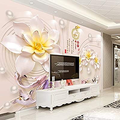 XLi-You 3D TV Wall Chinese home and the wealth of lotus flowers embossed fish jewelry seamless wall painting living room walls