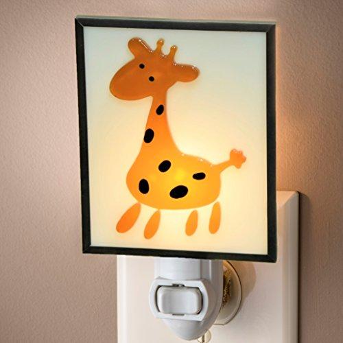 Lamp Infant Giraffe (J Devlin NTL 183 Nursery Night Light Giraffe Accent Light For Baby's Room Stained Glass Lite)