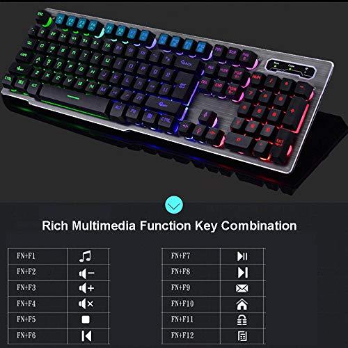 Color : Black Guanwen Optical Mechanical Game Keyboard Cable Floating Keycap Blue Switch 104 Key Multimedia Ergonomic Support Rainbow Backlit Metal Panel