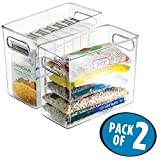 "mDesign Refrigerator, Freezer, Pantry Cabinet Organizer Bins for Kitchen, 10"" x 5"" x 8"", Pack of 2, Clear"