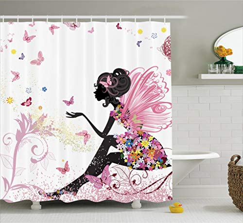 Pink Butterfly Girl with Floral Dress Flower Design Fairy Angel Wings FAE Home Accent Soft Colors Modern Designer Feminine Decor Dreamy Folklore Shower Curtain Black White -