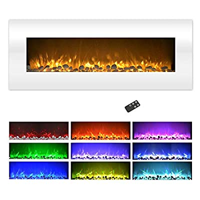 Northwest Electric Fireplace Wall Mounted, Color Changing LED Flame and Remote, 50 Inch, (White), 50""