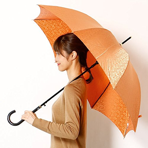 ミラショーン(雑貨)(mila schon) 雨傘(ジャンプ傘)【耐風】(レディース)ジャカード B0762BQLCS 60|42ライトオレンジ 42ライトオレンジ 60