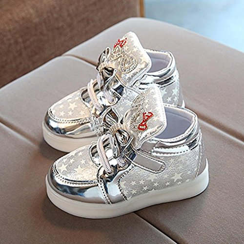 Baby plateado Shoes Toddler Stage Show Girl Shine Cute Bow Huateng Plata Led Sneakers Light pCITTq