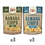 Sun Tropics Island Saba Banana Chips, Variety Pack, 6 Count, Vegan, Gluten Free, Non GMO, Made with Coconut Oil, Crispy Fruit Snacks