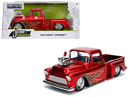 1955 Chevrolet Stepside Pickup Truck with Blower Candy Red with Flames Just Trucks Series 1/24 Diecast Model Car by Jada 30713 ()