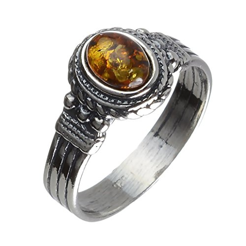 HolidayGiftShops Sterling Silver Baltic Honey Amber Gothic Style Ring Size: 9.5