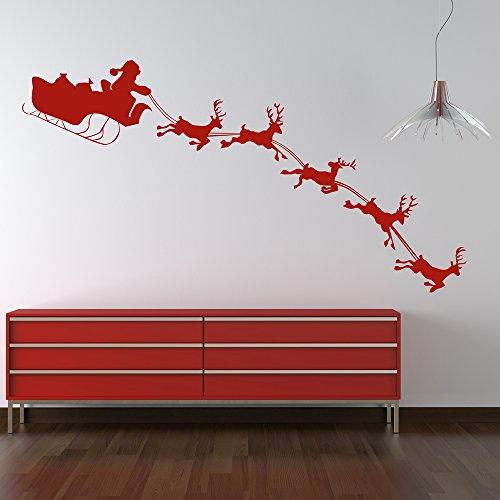 Santa With Sleigh Silhouette Christmas Wall Stickers Seasonal Decor Art Decals available in 5 Sizes and 25 colors Small ()