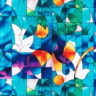 TechnologyLK Dove Stained Glass Decorative Window Film 36 Wide x 25 Ft. Long