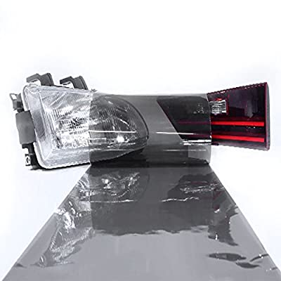LinkedGo 12 by 48 Inches Self Adhesive Light Black Headlights or Fog Taillight Tint Vinyl Film